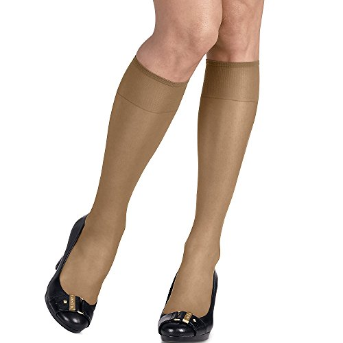 Hanes Silk Reflections Women's Silky Sheer Sandalfoot Kneehighs, Little Color, One Size (Pack of 6) (Pantyhose High)