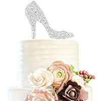 Crystal High Heels Shoes Silver Rhinestone Cake Topper Birthday Hen Night Wedding Party Gift Sparkly Decoration