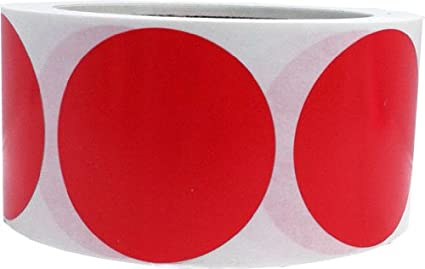 Red Color Coding Labels Round Circle Dots 2 Inch 500 Total Adhesive Stickers