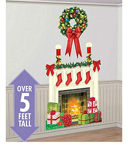 (Holiday Hearth Scene Setter Christmas Party Wall Decor kit 5' Fireplace)
