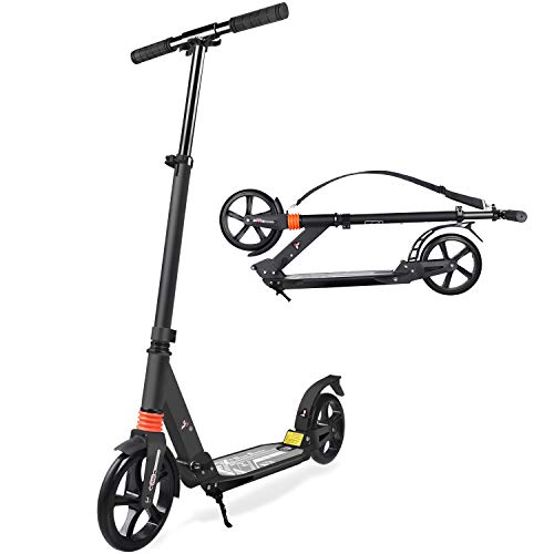 TABKEER Scooter for Adults Teens - Aluminum Alloy Foldable Adult Scooter Adjustable Height Handlebars and Kickstand with 8 inches Big Wheels Lightweight Scooters Gift for Family