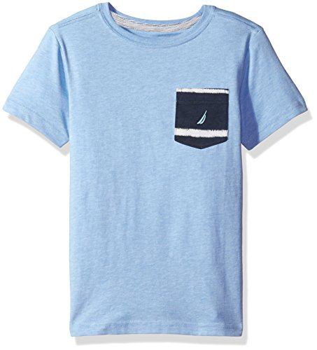 Nautica Big Boys' Jersey Pocket Tee Shirt, Sky Blue, L(14/16)