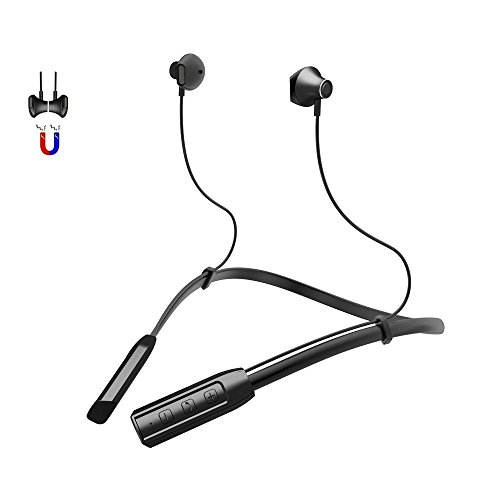Bluetooth Headset, Charlemain Wireless Headphones Noise Cancelling Sweatproof Stereo Neckband Sport Earphones Magnetic Earbuds with Mic for Gym Running Workout 12 Hour Battery - Battery Headset Stereo