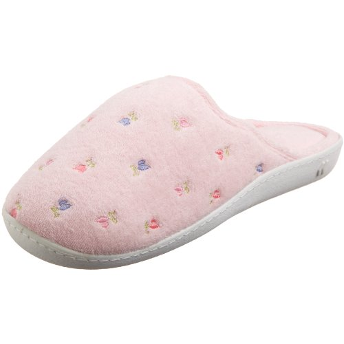 - ISOTONER Women's Terry Embroidered Scalloped Clog, Pink, 8.5-9 M US