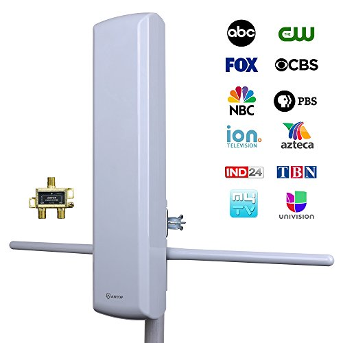 ANTOP 60 Miles Outdoor HDTV Antenna with Signal Splitter Support 2 TVs and Rods Enhance for VHF High Gain Reception