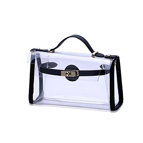 [해외]Hkiss 패션 레이디 가방 블랙 사이드 솔리드 컬러 투명 핸드백/Hkiss Fashion Lady Bags Black Side Solid Color Transparent Handbag