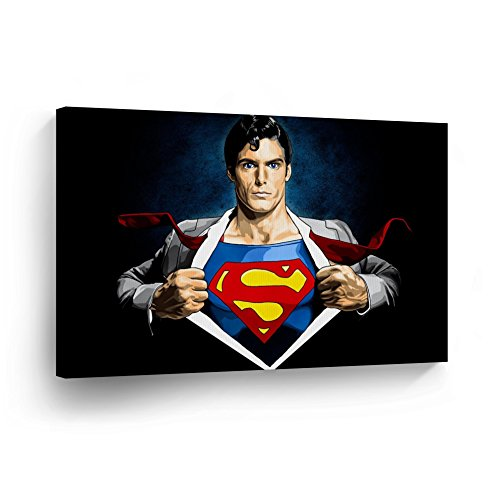 Klark Kent Transformation to SUPERMAN Wall Art Canvas Print Home Décor Super Hero Wall Art Decoration Artwork Wrapped Framed Ready to Hang 8x12 (Picture Superman)