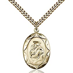 Gold Filled St. Anthony Pendant 1 X 58 Inches With Heavy Curb Chain