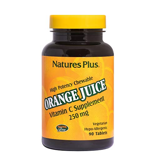 Natures Plus Orange Juice Vitamin C Chewable - 250 mg Ascorbic Acid, 90 Vegetarian Tablets - High Potency Immune Support Supplement, Antioxidant - Gluten Free - 90 Servings