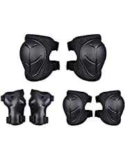 Kids Sports Protective Gear Set,6PCS Wrist Guard Knee Elbow Pads for Children Protection Skateboard Inline Roller Skating Biking Riding Scooter,Black