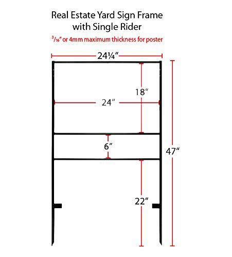 ( 5pack ) Slide-in Real Estate Yard Sign Metal Frame with Single Rider ( 2 Section ) - 24''x18'' ( #2068 ) by LED-Factory (Image #6)