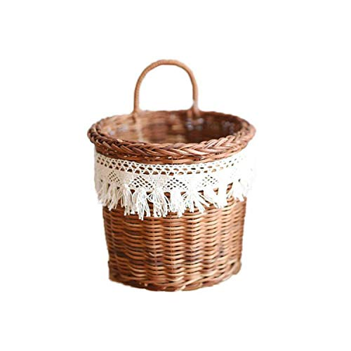 Handmade Woven Wicker Flower Basket Fringed Lace Portable Picnic Fruit Basket Dustproof Storage Basket,L