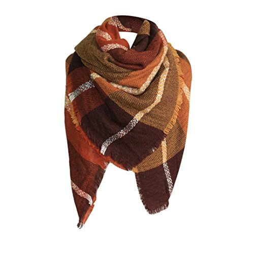 Plaid Blanket Scarf Oversized Square Scarves Cozy Winter Tartan Shawl Checked Wrap (Brown) ()