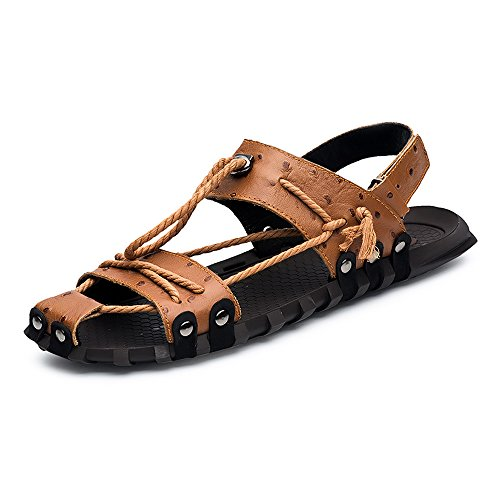 Ciabatte morbido Marrone Nero Color da da di shoes EU vera Mens sandali spiaggia Dimensione 2018 corda 47 Casual piatti in canapa uomo antiscivolo pelle Canapa SaqHE8Rnx