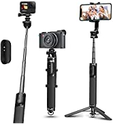 """AFAITH 44.5"""" Selfie Stick Tripod, 360° Rotary Aluminum Alloy Extendable Pole Stand Handle with Bl..."""