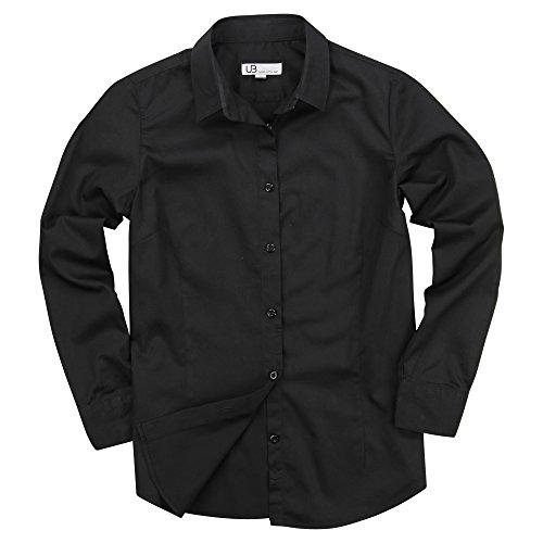 Women's 100% Cotton Classic Long Sleeve Shirt (Black, Large) (Button Classic Shirt Down)