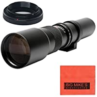 High-Power 500mm f/8 Manual Telephoto Lens for Sony Alpha A99, A77, A65, A58, A57, A55, A37, A35, A33, A900, A700, A580, A560, A550, A390, A380, A330 and A290 Digital SLR Cameras