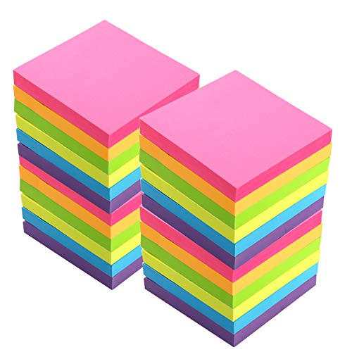Sticky Notes, 3 in x 3 in, 24 Pads/Pack,100 Sheets/Pad, 6 Bright Colors Self-Stick Notes for Home,Office, School, Easy Post. by ERBAO