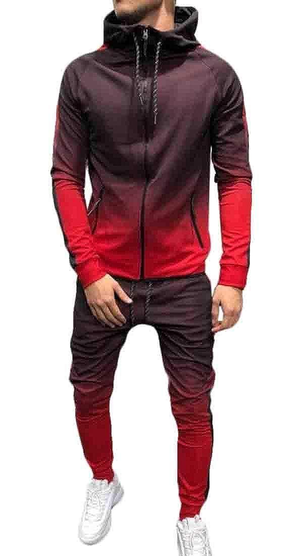 Hurrg Mens Gradient Color Hooded Jacket 2 Pieces Pants Tracksuit Outfit Set