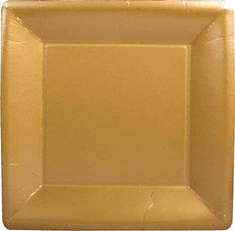 Caspari Inc. - Platos llanos (cuadrados de oro macizo Contemporáneo 16 unidades dorado: Amazon.es: Hogar