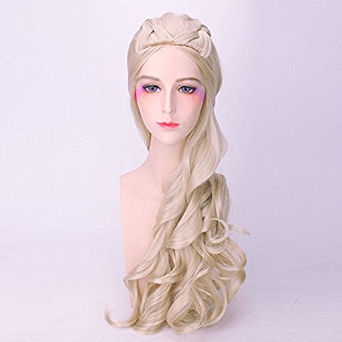 Cosplay Wigs for Game of Thrones Daenerys Targaryen Fluffy Long Wavy Synthetic Party Wig (Blonde) Heat Resistant Fibre Wigs 30 Inch for Gril