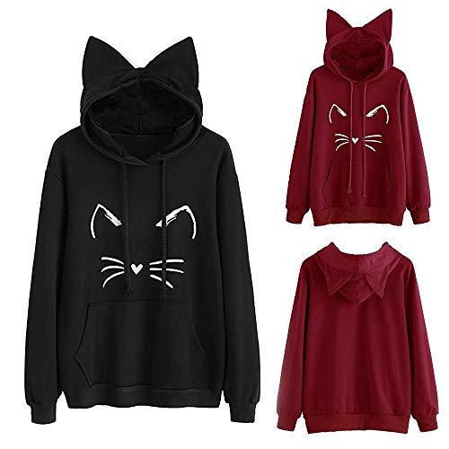 Top Donna Hoodies Lunga Felpa Sweatshirt Cappotto Corta gatto Crop Manica Stampa BYSTE Felpa Cappuccio Giacca Autunno Vino Con qaHW7wSO