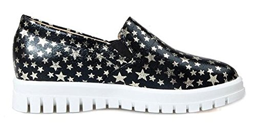 Toe Low Womens Platform Trendy Black CHFSO Slip Sneakers Top Low On Round Elastic Heel aqpUntw