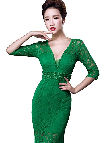 Zip Ausschnitt Meerjungfrau Abend Rosenrot V Spitzen Ärmel Emily Beauty 3 lange Maxi formales Kleid 4 0Exq7fT