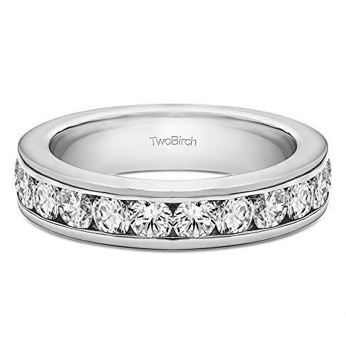 0.1Ct Twelve Stone Channel Set Straight Wedding ring in Sterling Silver Diamonds (G-H,I2-I3)(Size 3 to 15 in 1/4 Size Intervals) 0.1 Ct Channel Set