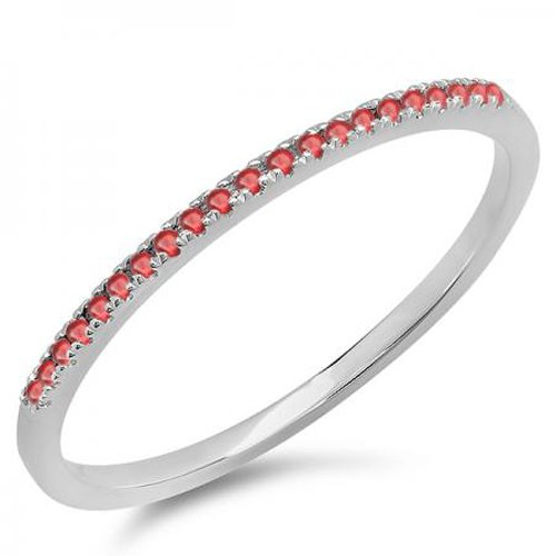 0.08 Carat (ctw) 10K White Gold Round Ruby Ladies Dainty Anniversary Wedding Band Stackable Ring