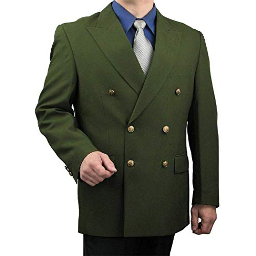 Mens Olive Green Double Breasted 6 Button Sports Jacket Blazer New (54R ()