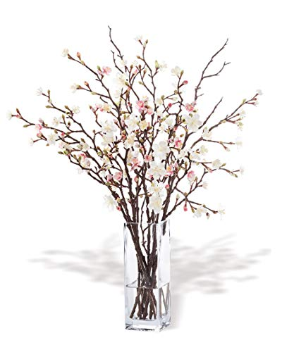 Petals – Cherry Blossom Silk Flower Arrangement – Handcrafted – Amazingly Lifelike – 27 x 20 Inches (Pink/White)
