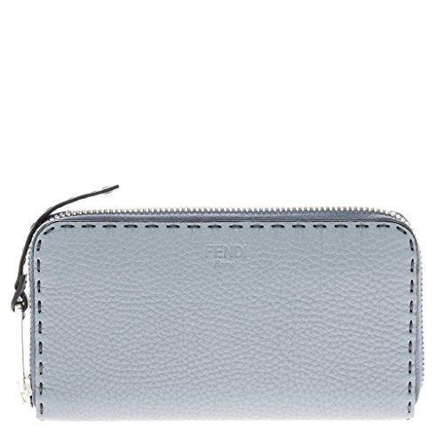 Fendi Women's Selleria Zip around Wallet Grey