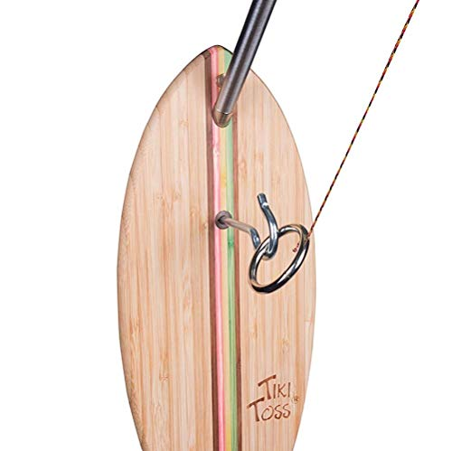 Tiki Toss Hook and Ring Toss Deluxe Set Rasta Edition - 100% Bamboo with 5 Ft Telescoping Pole and All Parts -