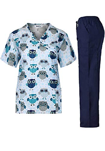 MedPro Women's Printed Medical Scrub Set Mock Wrap Top and Cargo Pants  Navy White S (Paisley Mock Wrap)