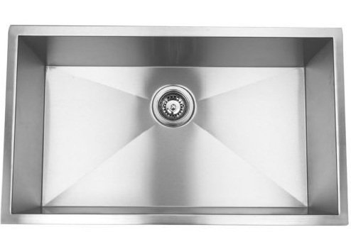 23 Single Bowl Undermount Stainless Steel Kitchen Sink with Strainer