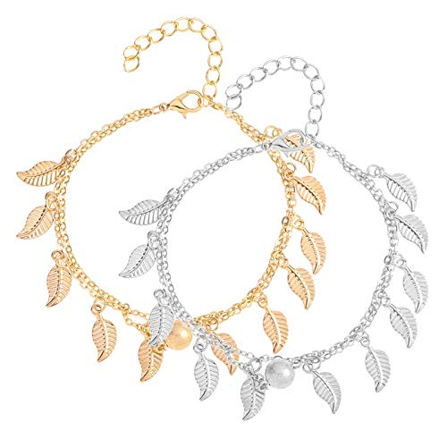 Avec feuilles Pour femme et fille Lot de 2 bracelets de cheville Hellomagic Double couche Pendentif de cheville Style boh/ème