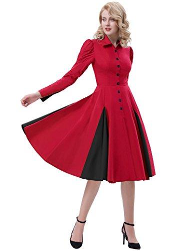 pour Dguisement Edwardian Fte Manche FR366 Poque Robe Chemise Gothique Femme en Robe Belle Halloween reg; Coton Longue Robe Rouge w1BYxZng