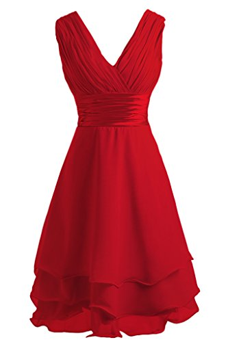 ivyd ressing Mujer utilizada V de recorte Traeger gestuft gasa novia junfern vestido fijo vestido Fiesta Vestido para vestido de noche Rojo