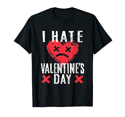 I Hate Valentine's Day TShirt Anti-Valentine Sad Face Heart