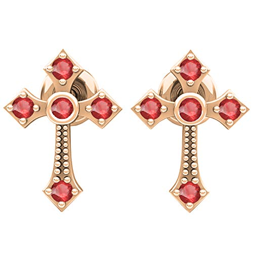 - 10K Round Ruby Ladies Cross Drop Earrings, Rose Gold