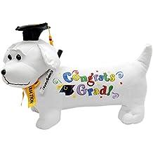 """Graduation Autograph Stuffed Dog w/ Pen, """"Congrats Grad!"""" (Black) 12"""""""