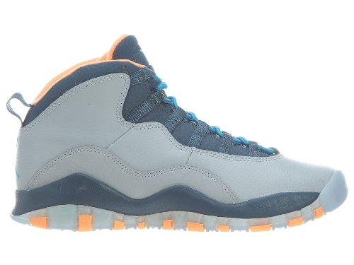 NIKE Air Jordan Junior GS Große Kinder Retro 10 Basketballschuhe Wolf Grey / Dark Powder Blue-neues Salz