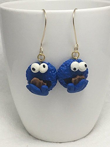 Sesame Street inspired Cookie Monster Muppet Dangle Earrings Polymer Clay Jewelry Character
