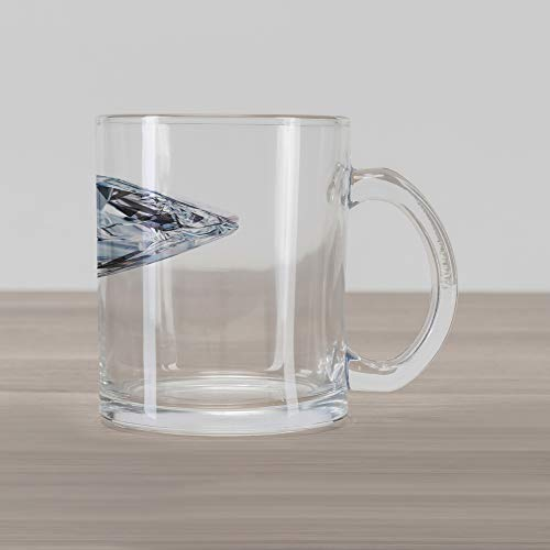 Lunarable Diamonds Glass Mug, 3D Image of a White Topaz with Reflections Nobility Royalty Treasure Theme, Printed Clear Glass Coffee Mug Cup for Beverages Water Tea Drinks, Multicolor