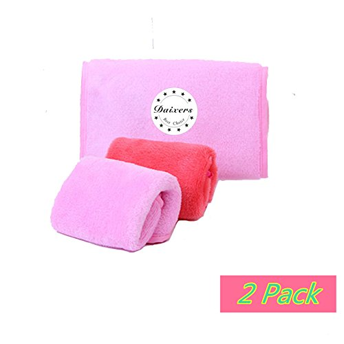 Daixers Reusable Makeup Remover Cloth/Towel Set of 2 Pack,(Rose Red & Pink)