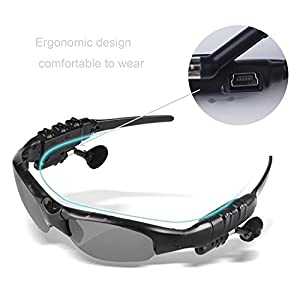 TechKen Sunglasses Headset Headphone Bluetooth Wireless Music Sunglasses Headsets for iPhone Samsung LG and Smart Phones PC Tablets