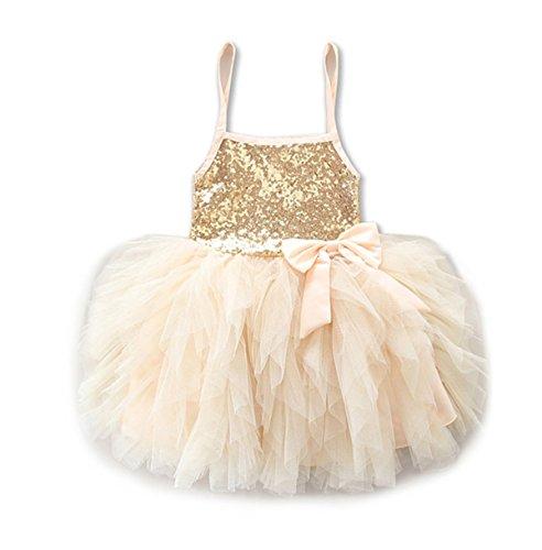 (Baby Girls Spaghetti Strap Ruffle Tulle Tutu Princess Bubble Dress (2-3 Years, Gold))