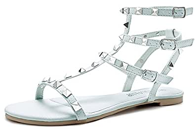 SANDALUP Rivets Studs Flat Sandals w Double Metal Buckle for Women's Summer Dress Shoes Airy Blue 05
