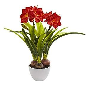 Nearly Natural 4352 Amaryllis Artificial White Vase Silk Arrangements Red 19